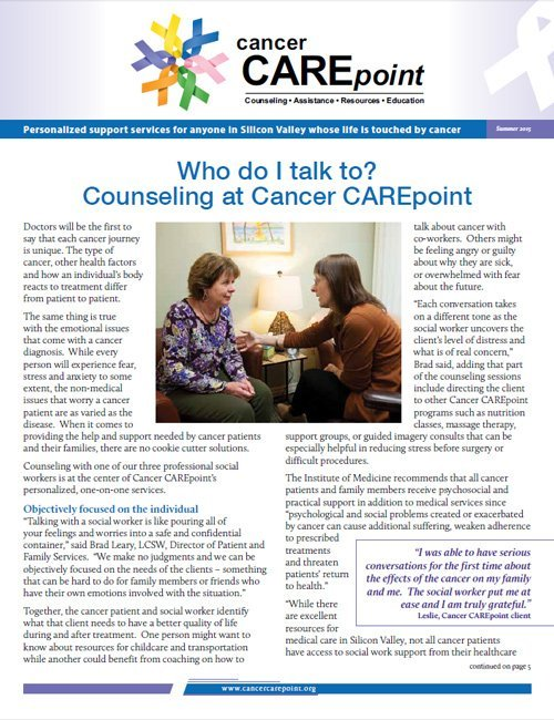 Cancer CAREpoint Summer 2015 Newsletter